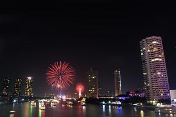 Firework of The Year at Taksin Bridge Bangkok Thailand
