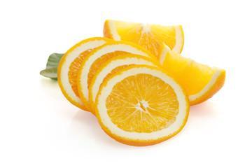 Slices of orange tangerine over white