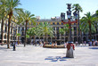 Plaza Real is a square in the Gothic Quarter in Barcelona, Spain - 71299633