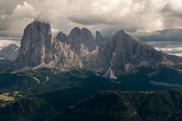 Dolomites peaks in sunset