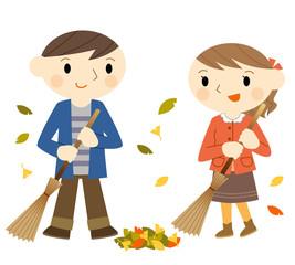 落ち葉を掃除する
