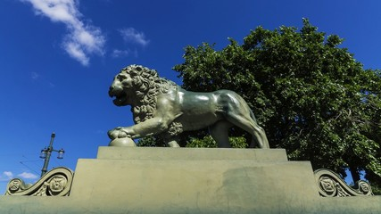 lion on the Admiralty Embankment, St. Petersburg, Russia
