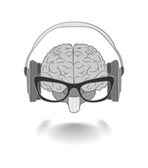 Concept of the human brain with glasses enjoyer music from the h