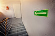 canvas print picture - emergency exit staircase