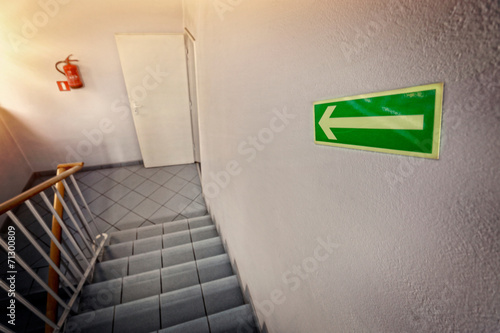 canvas print picture emergency exit staircase