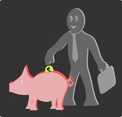 Hombre de negocios insertando una moneda en un chanchito