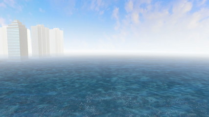 Skyscrapers between water and White fog