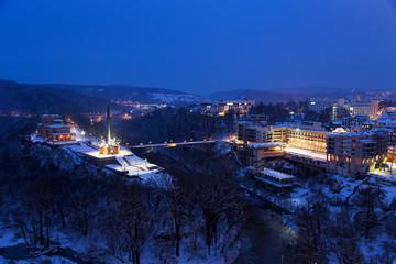 Night view of Veliko Tarnovo, the former capital of Bulgaria and