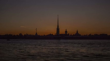 Peter and Paul Fortress, Saint Petersburg,    Sunset Time Lapse