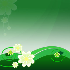 Green background with beautiful flowers