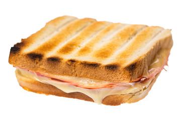 Schinken Käse Toast isoliert auf weißem Hintergrund diagonal