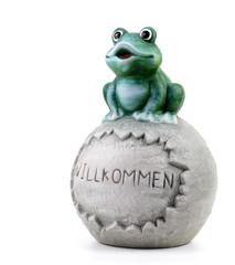 ceramic frog on white background