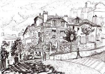 hand draw paris street