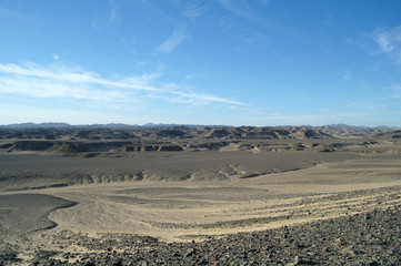 Egyptian desert  and blue sky.
