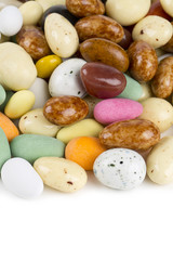 colorful glaced and chocolate covered nuts and raisins