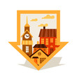 Cityscape navigation marker with cute colorful houses.