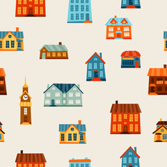 Town seamless pattern with cute colorful houses.
