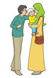 Indonesian muslim husban, wife and child