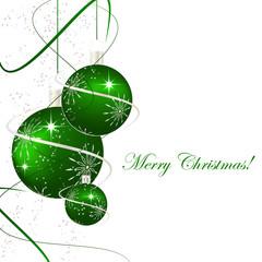 Christmas background with green christmas balls