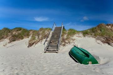 wooden stairs on coastline