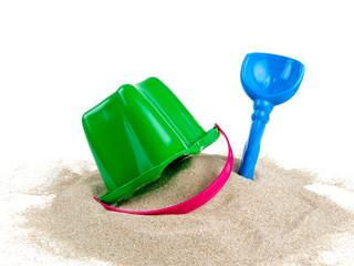 beach sand, shovel and bucket