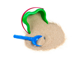 beach sand, shovel and bucket