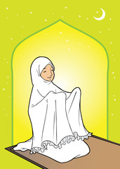indonesian muslim woman praying in mosque