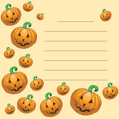 Greeting card with halloween pumpkins