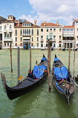 Two gondolas on the Grand Canal in Venice, Italy