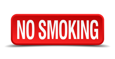 no smoking red 3d square button isolated on white