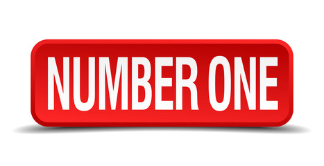number one red 3d square button isolated on white
