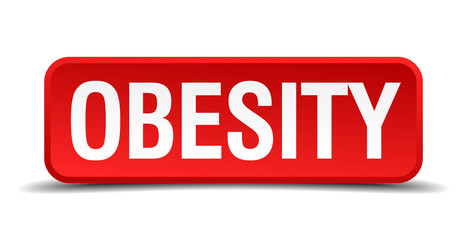 Obesity red 3d square button isolated on white
