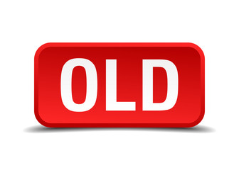Old red 3d square button isolated on white