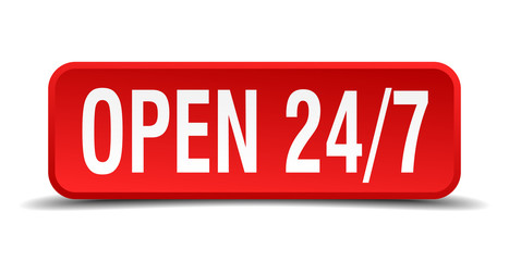 Open 24 7 red 3d square button isolated on white