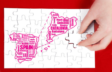 spain and catalonia map and words cloud with larger cities