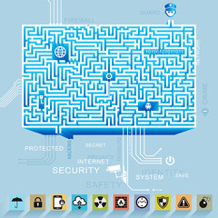 Internet security and protection maze background.