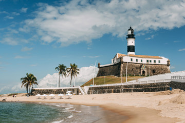 Morning on the beach near Barra lighthouse in Salvador, Brazil.