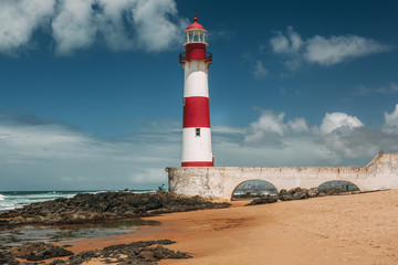 Itapua lighthouse in Salvador, Brazil.