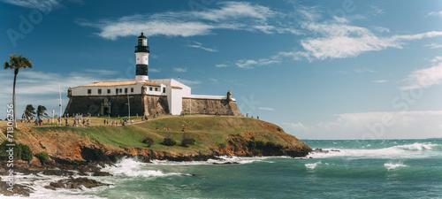 Fotobehang Vestingwerk Barra Lighthouse (Farol da Barra) in Salvador, Bahia, Brazil .