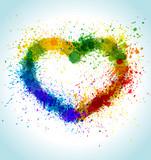 Color Paint Splashes Heart Background