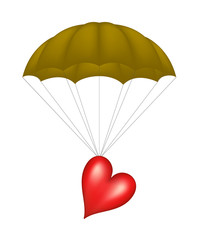 Heart at brown parachute
