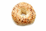 Fresh Delicious Everything Bagel Isolated Over White