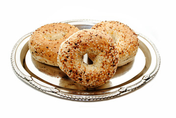 Gourmet Everything Bagels Served on a Silver Platter