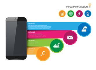 Infographic with a touch screen smartphone