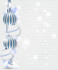 Christmas postcard with christmas balls and icicles