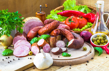 assortment meats sausage bacon green