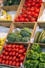 Boxes full of fresh vegetables at spanish market - Madrid