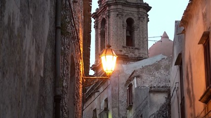 Vintage street lamp in the medieval Erice city. Sicily