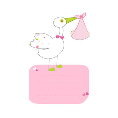 Stork with baby girl with text vector