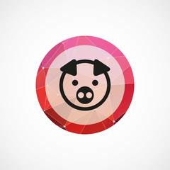 pig circle pink triangle background icon.